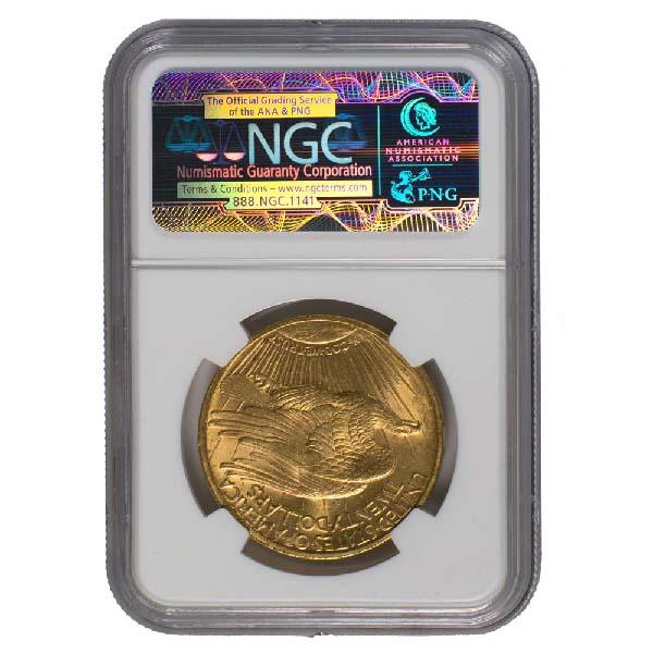Reverse of $20 Saint-Gaudens Gold Double Eagle-MS-62