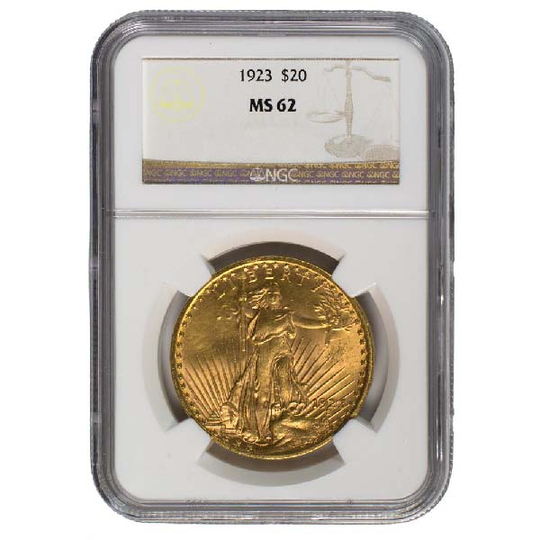 Obverse of $20 Saint-Gaudens Gold Double Eagle-MS-62