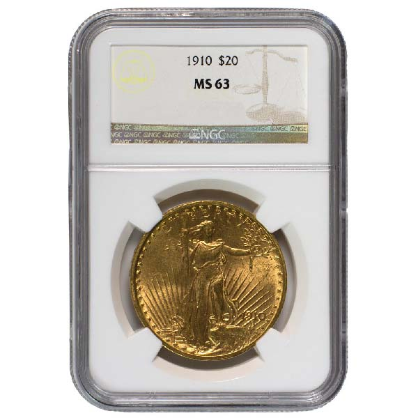 Obverse of $20 Saint-Gaudens Gold Double Eagle-MS-63
