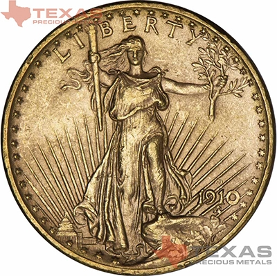 Obverse of $20 Saint-Gaudens Gold Double Eagle - AU (Dates Our Choice)