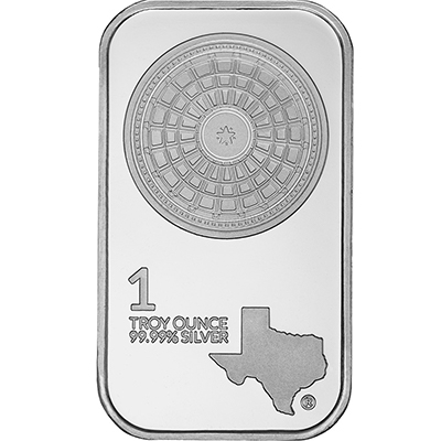 Obverse of 1 oz Texas Silver Bar