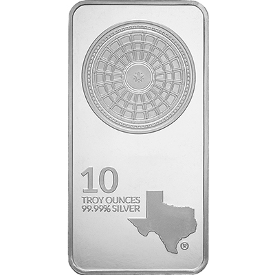 Obverse of 10 oz Texas Silver Bar
