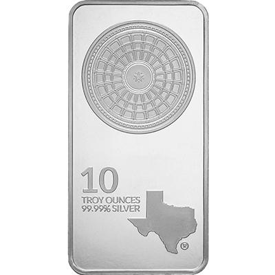 Obverse of 10 oz Texas Silver Bar