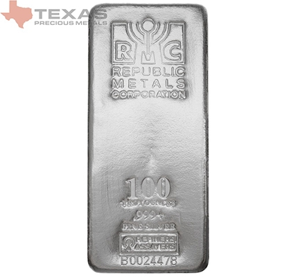 100 oz Republic Metals Silver Bar