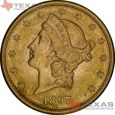 Obverse of $20 Liberty Gold Double Eagle - XF