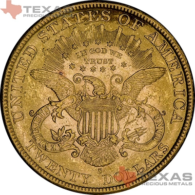 Reverse of $20 Liberty Gold Double Eagle - XF