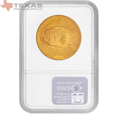 Reverse of $20 Saint-Gaudens Gold Double Eagle MS-64