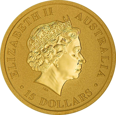 Obverse of 1/10 oz Australian Gold Kangaroo