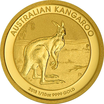 Reverse of 1/10 oz Australian Gold Kangaroo