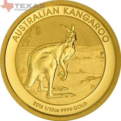 Reverse of 1/10 oz Australian Gold Kangaroo