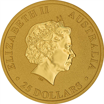 Obverse of 1/4 oz Australian Gold Kangaroo