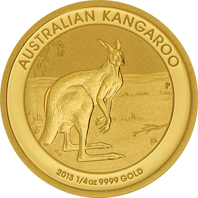 Reverse of 1/4 oz Australian Gold Kangaroo