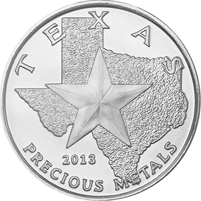 Obverse of 2013 Texas Silver Round