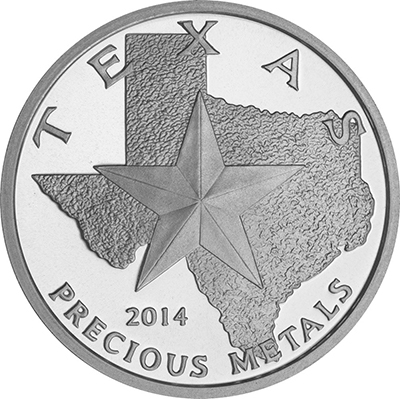 Obverse of 2014 Texas Silver Round