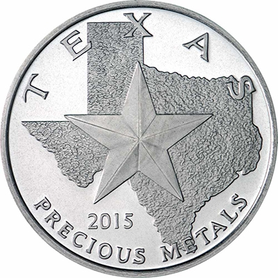 Obverse of 2015 Texas Silver Round