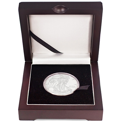2018 American Silver Eagle in Wooden Display Box