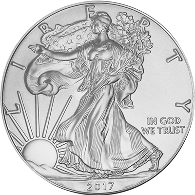 Obverse of 2017 American Silver Eagle Coin