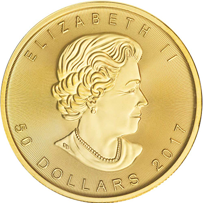 Obverse of 2017 Canadian Maple Leaf Gold Coin