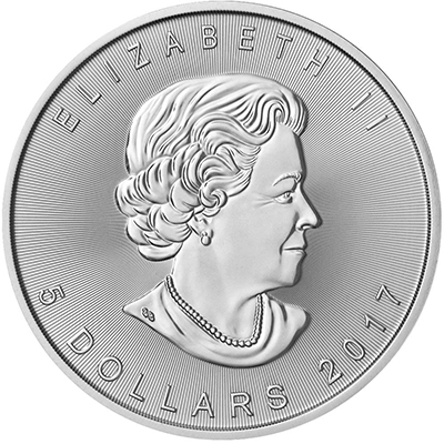Obverse of 2017 Canadian Silver Maple Leaf
