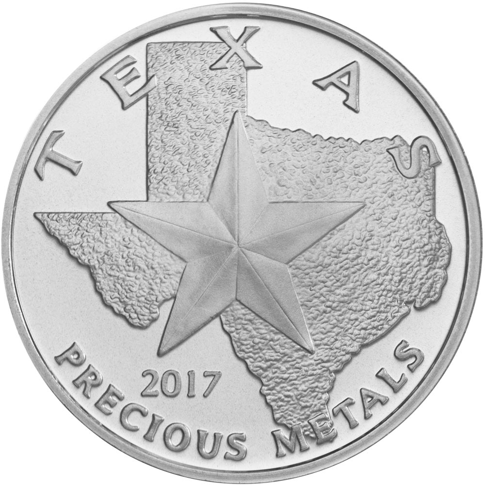 Obverse of 2017 Texas Silver Round