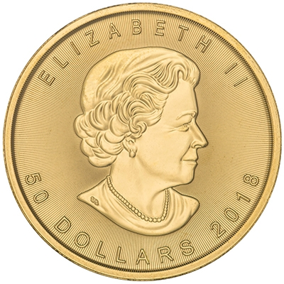 Obverse of 2018 Canadian Maple Leaf Gold Coin