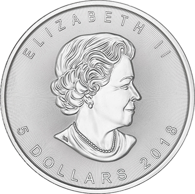 Obverse of 2018 Canadian Silver Maple Leaf Coin