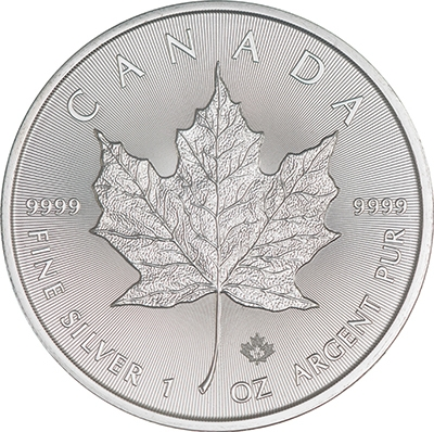 Reverse of 2018 Canadian Silver Maple Leaf Coin