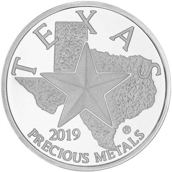 Obverse of 2019 Texas Silver Round