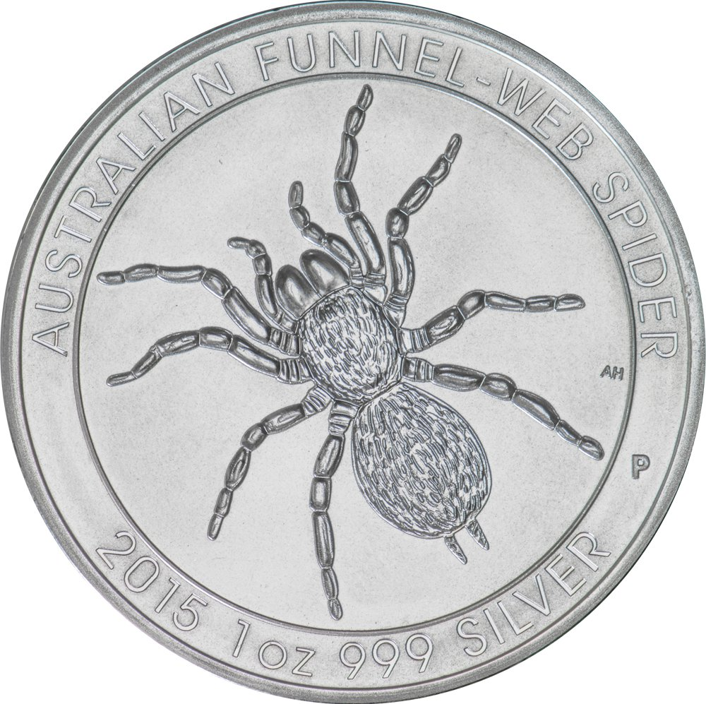 Reverse of 2015 Perth Mint Silver Funnel-Web Spider