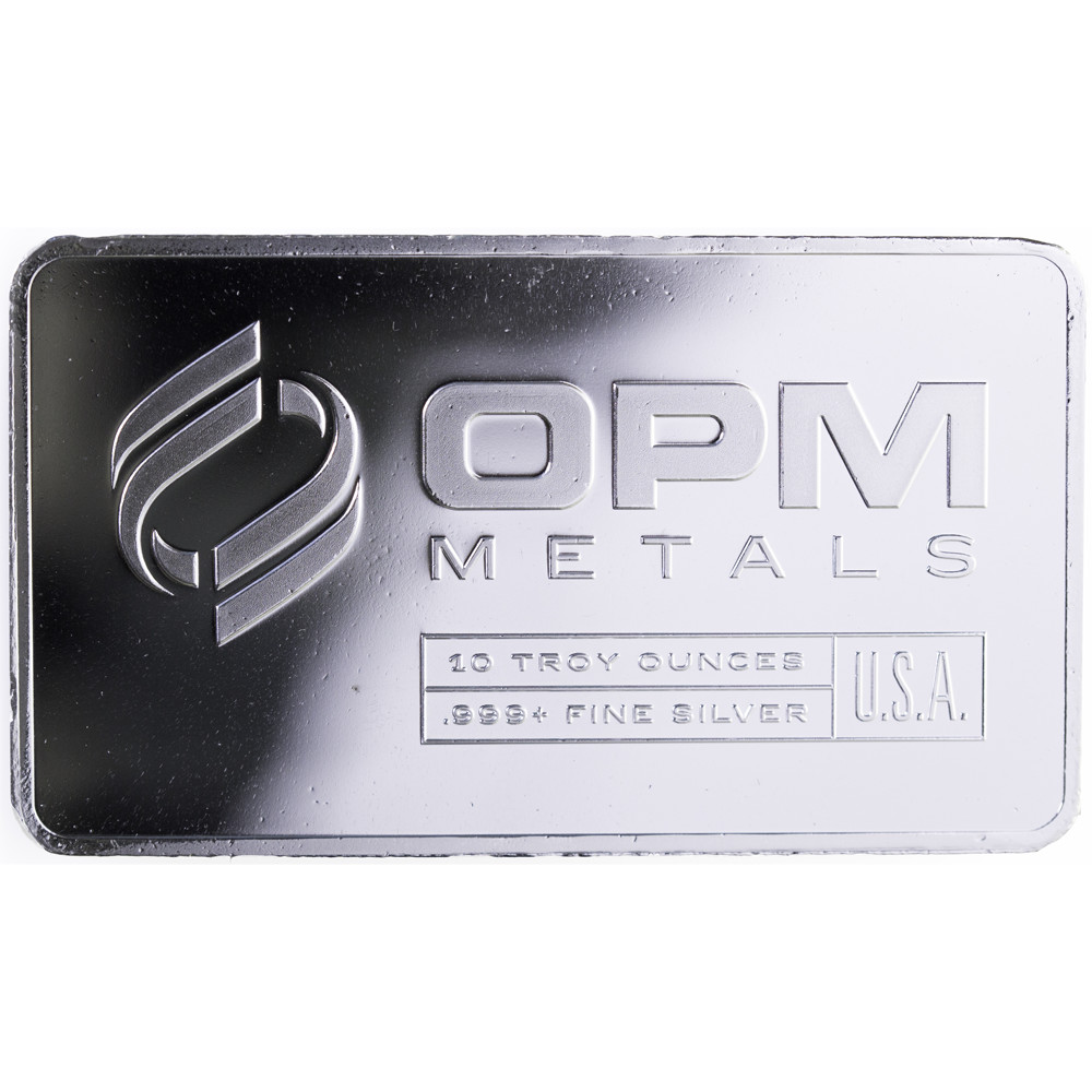 Obverse of10 oz OPM Silver Bars