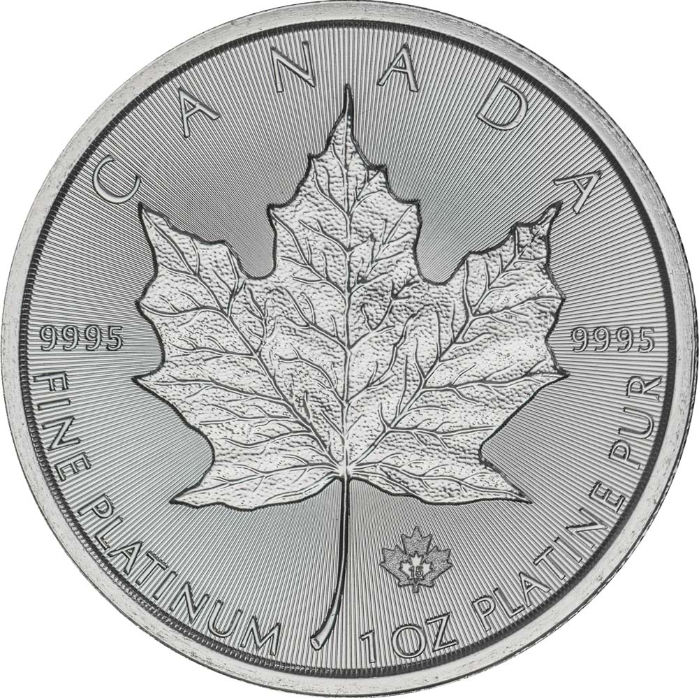 Reverse of Canadian Maple Leaf Platinum Coin