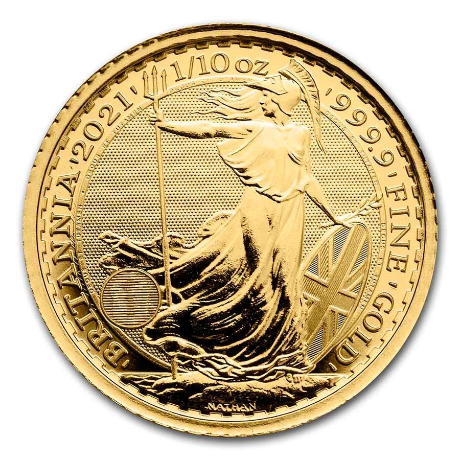 1/10 oz Royal Mint Gold Britannias Reverse