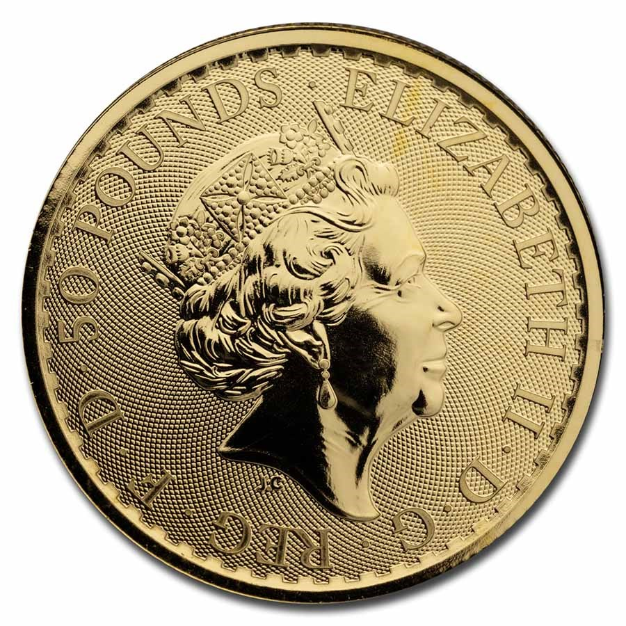1/2 oz Royal Mint Gold Britannias Obverse