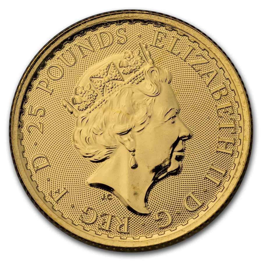 1/4 oz Royal Mint Gold Britannias Obverse