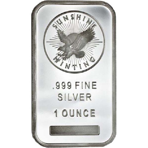 Obverse of 1oz Sunshine Silver Bar