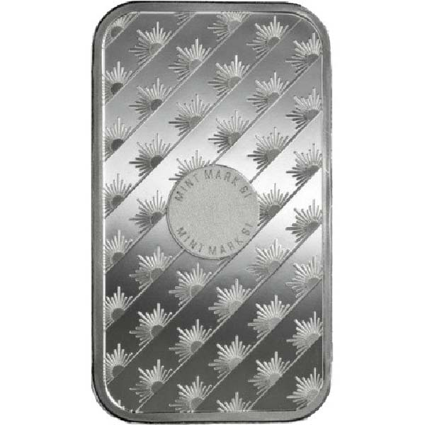 Reverse of 1oz Sunshine Silver Bar